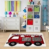 Kinderteppich Feuerwehrauto Größe 120 x 180 cm