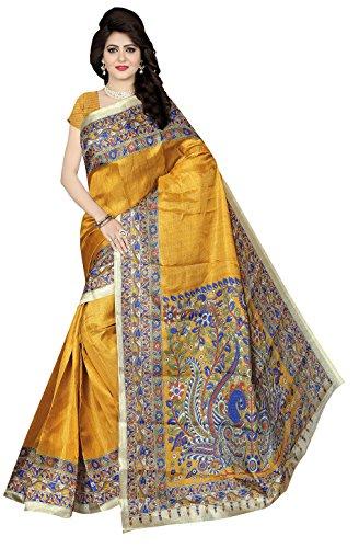 Winza Designer Cotton Saree With Blouse Piece (KALAMKARI-3_Best Mustard_Free Size)