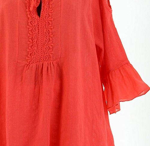 Charleselie94® - robe tunique asymétrique bohème dentelle été corail CHOUPETTE CORAIL Corail