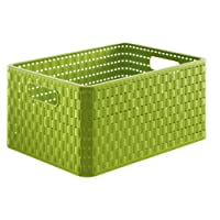 Rotho Storage Basket Rattan Look A4 1153519000, size A4, capacity approx 18 litres, dimensions approx 36.8 x 27.8 x 19.1 cm (lxwxh), green