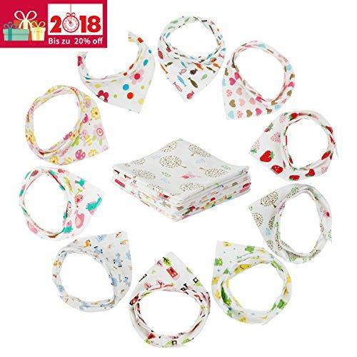10er Baby Dreieckstuch Lätzchen Mädchen Spucktuch Baumwolle Halstücher mit süßen Motiven in unterschiedlichen Farben, Doppellagig Saugfähig (Ganzkörper-bib)
