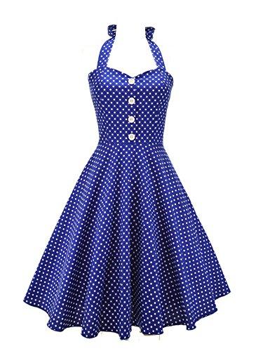 LUOUSE Robe de bal Vintage 1950S pin-up à 'Audrey Hepburn' Classique Style Halter,dos nu, à pois Bleu
