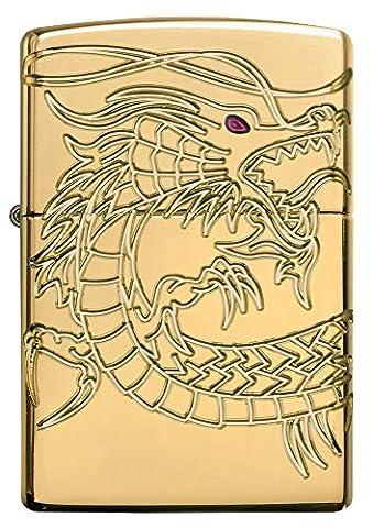 Zippo coupe-vent Unisexe Armor Dragon chinois poche Briquet, plaque or haute polonais