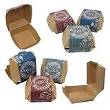 ToCis Big BBQ 24 Stück Hamburger-Boxen aus Pappe | Grill Party Einweg-Geschirr | Burgerbox im Vintage Design