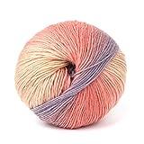 LANDUM Wollgarn, handgewebte Regenbogen Bunte häkeln Kaschmir Wollmischung Garn Stricken - 1 Ball (50g) - 4#