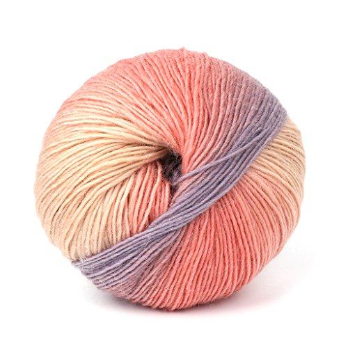 Dabixx Wollgarn, handgewebte Regenbogen Bunte häkeln Kaschmir Wolle Mischung Garn Stricken - 1 Ball (50g) - 3# - Wolle Und Kaschmir-mischung
