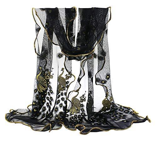 Irinay sciarpa di foulard in pizzo casual chic ricamato con fiori in pavone ricamato da donna stole fashion elegant soft easy shawl scarf (color : nero, size : one size)