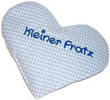Herzkissen mit Spruch Kleiner Fratz hellblau kariert, Rapssamenkissen. Kissen zum Wärmen, Wämekissen zur Geburt oder Taufe