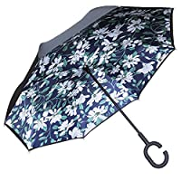 TOOGE Umbrella Inverted/Reversible, Long Windproof Umbrella Double Layer Inside-Out Self-Standing for Women and Men with Carring Bag