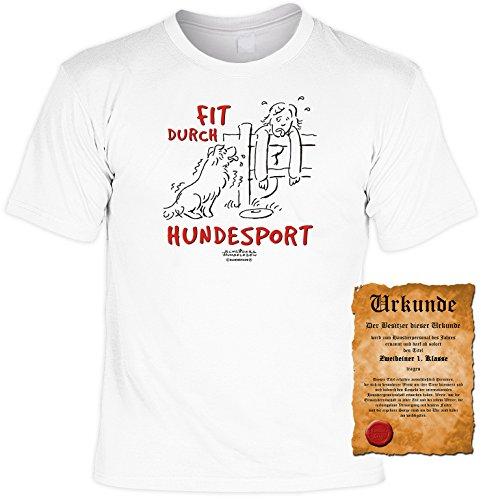Witziges Spaß-Shirt + gratis Fun-Urkunde: Fit durch Hundesport Weiß