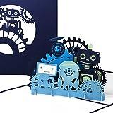 """Pop Up Karte """"Funny Robots"""" - lustige Roboter Grußkarte als Geburtstagskarte, Einladungskarte Geschenkgutschein oder Geschenk zum Kindergeburtstag"""
