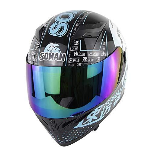 MTSBW Casco Moto, Casco Integrale Moto Samurai Motocross Racing Uomo Donna, XL