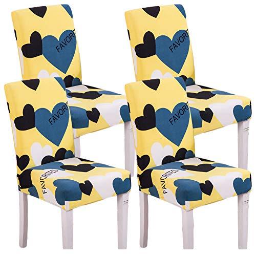 Bleu avec motif floral Super Fit stretch en courte amovible Housse de protection de chaise de chaise Slipcover Hôtel, salle à manger, Cérémonie, Banquet fête de mariage 2PC, Polyester, Favorites, 4 pièces
