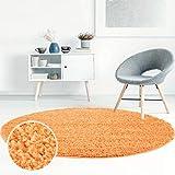 Shaggy-Teppich, Flauschiger Hochflor Wohn-Teppich, Einfarbig/Uni in Orange für Wohnzimmer, Schlafzimmmer, Kinderzimmer, Esszimmer, Größe: 120 x 120 cm Rund