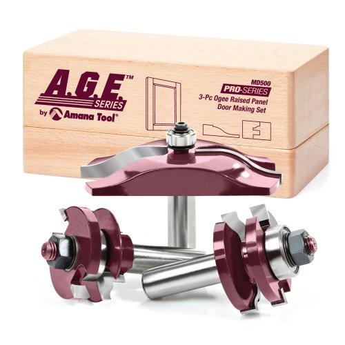 A.G.E. Serie von Amana Werkzeug MD500Ogee Raised Panel Tür die Herstellung Hartmetallbestückt Router Bit Set, 1/2Zoll Schaft, 3-teilig (Amana Router Bits)