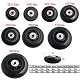 Airkoul 2pcs Black Replacement Luggage Suitcase / Scooter Inline Skate Roller Wheels Axles Deluxe Repair With ABEC 608zz Bearings (45X19mm)