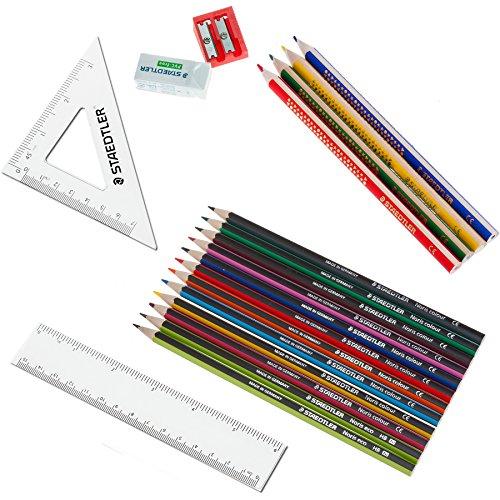SET: STAEDTLER Mäppchen Füllung 20-teilig komplett Buntstifte, Dickies, Bleistifte, Radierer, Spitzer, Lineal + 6er Pack Buntstifte EXTRA
