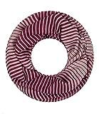 Majea NEUE Kollektion Damen Loop Schal viele Farben Muster Schlauchschal Halstuch in aktuellen Trendfarben (weinrot 7)