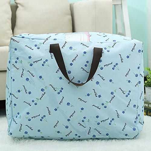 Hoobor House Thick Oxford tessuto Trapunte lavabili Pouch Visual Abbigliamento Borsa organizzare la rimozione del sacchetto sacchetto bagagli,Blue Cherry,letto king size:60*49*30cm
