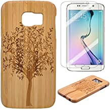 Semoss 2 en 1 Accessoires Set Nature Arbre Coque Bambou Bois Etui pour Samsung Galaxy S7 Edge Fabriqué à la Main Bamboo Housse en Protection Hardcase Bumper Cover Rigida avec Protecteur d'ecran