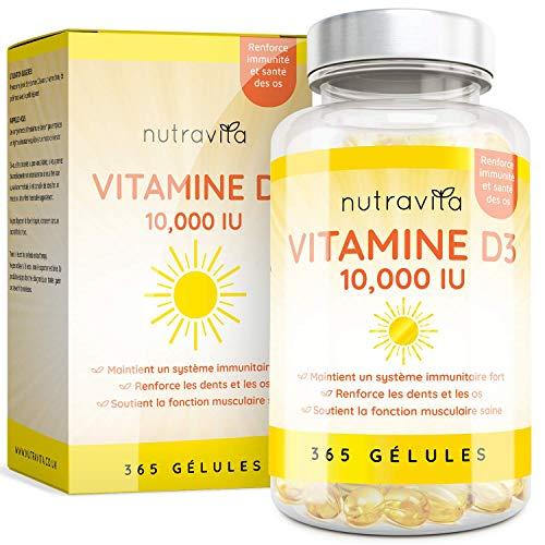 Vitamine D3 10,000 IU - 365 Gélules - Articulations, Os Et Dents En Bonne Santé - 1 An D'Approvisionnement