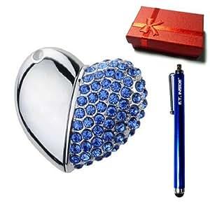 Cristal en Forme de Coeur Collier Clé USB Drive 8 Go (Bleu)