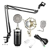 Neewer NW-1500 Professional Studio Condenser Microphone Kit with USB Sound Card, Shock Mount