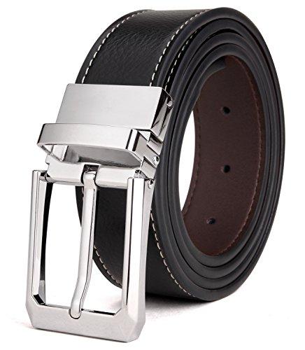 Tonly Monders Herren Gürtel Leder Reversible, Rotierte Schnalle Schwarz/Braun, 32mm Breit, 38,39,40,41,Taillenumfang - Reversible Schwarz Leder