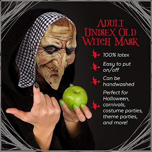 Maschera da strega con capelli e foulard in lattice. Perfetta per le feste  di Halloween 53fd39b25ec3
