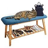 Zri Bamboo Schuhbank blau Sitzbank mit Stauraum Schuhregal - Minimalistischer Lebensstil innen Flur und Schlafzimmer 90 cm
