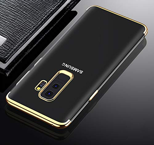 Preisvergleich Produktbild Shinyzone Samsung Galaxy S9 Plus Zurück TPU Hülle, Kristall Transparentes Silikon + Überzug Gold Bumper Stilvoll Design [Kratzfest] [Stoßfest] Schutzhülle für Samsung Galaxy S9 Plus