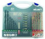 alpen HSS Sprint Spiralbohrer, Durchmesser 2-10 mm und Hartmetall-Steinbohrer Long Life, 5-10 mm als 22-teiliges Set im Kunststoffkoffer, 800222100