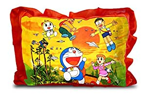 Generic Rectangle Shape Micro Fabric and Velvet 3D Cartoon Printed Pillow for Kids (Red, 14 x 20 Inches)