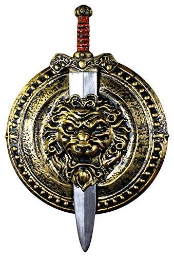 ILOVEFANCYDRESS Gold und Silber Gladiator Schild und