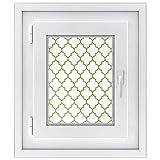 Fenster Bild | hochwertige Fenster Folie - dekorativer Fensteraufkleber | moderne Glasdekorfolie - selbshaftend - einfach anzubringen | Made in Germany | Design Retro Pattern - Grün - 30 x 40 cm