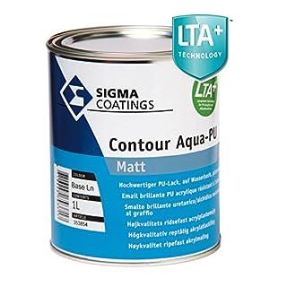Sigma contour Aqua-PU acrylic paint matt white for indoor, 1 litre