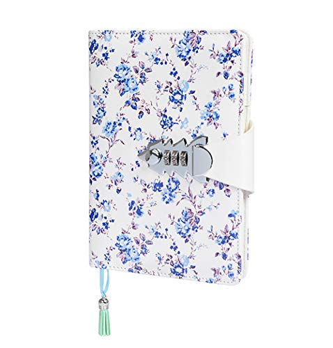 Ai-life Notizbuch mit Schloss, Creative PU Leder Password Notebook Passwort Tagebuch Notizblock, Notizblock mit Zahlenschloss 130 Seiten, Größe 215 * 150mm