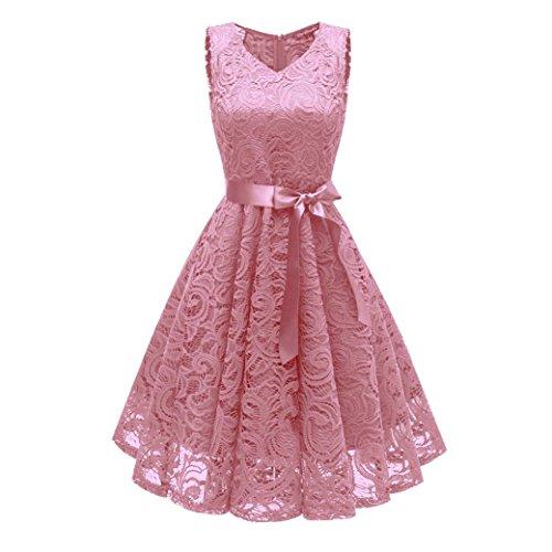 Damen Vintage Prinzessin Blumen Spitzekleid,TWIFER Cocktail V-Ausschnitt Party A-Line Swing Kleid...