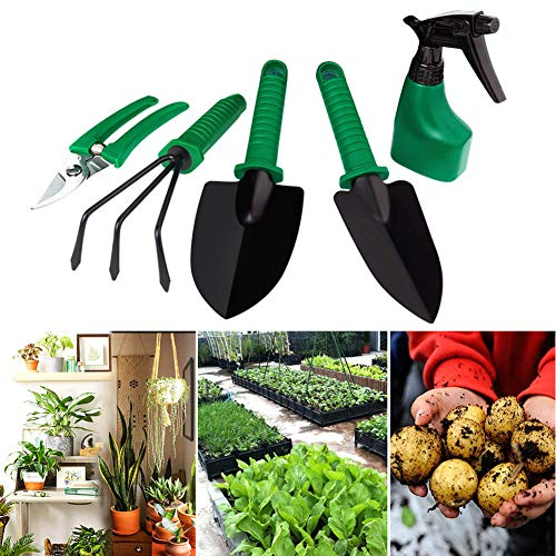 SDGDFXCHN Garden Tool 5-teiliges Set mit Tragetasche Beinhaltet Rechen, runde Schaufel, Randschaufel, Sprühflasche und Gartenschere. Gardening Tools Geschenkset für Gärtner