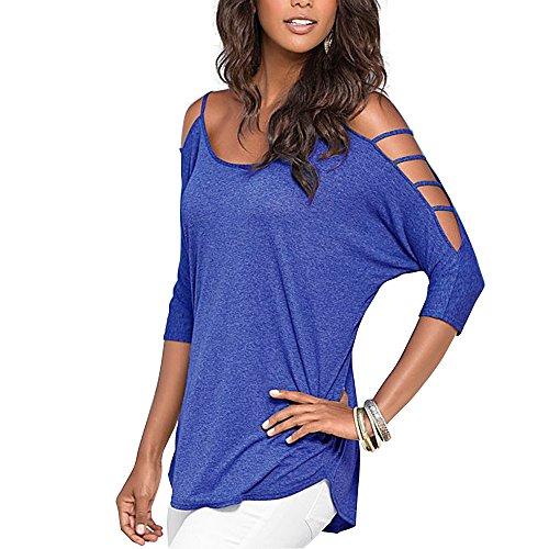 IHRKleid® Sommer Frauen Bluse Tops T-Shirt Ausschnitt Bügel Schulterfrei Marineblaus