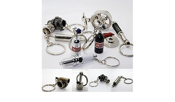 Luxury Metal Key Fob Racing Shock Absorber Wheel Rim Ignition Plug Horn Piston Wheel Turbo Boost Brass Brushed Chrome Leather Band Metal Car Key Fob Keyring Key Auspuff