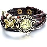 JewelryWe Damen Armbanduhr, Retro geflochten Leder Armband Armreif Armkette Uhr mit Schmetterling Anhänger, Braun Bronze