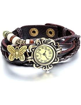 JewelryWe Damen Armbanduhr, Retro geflochten Leder Armband Armreif Armkette Uhr mit Schmetterling Anhänger, Braun...
