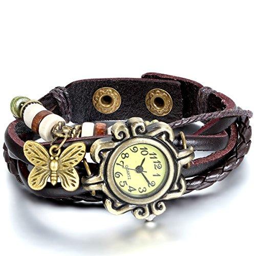 JewelryWe Damen Armbanduhr, Retro geflochten Leder Armband Armreif Armkette Uhr mit Schmetterling Anhänger, Braun Bronze (Anhänger Uhren)