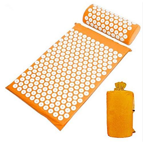 Faviye Massage-Set Akupressur-Massage Yogamatte mit Kopfkissen und Tasche für Yoga, Behandlung zur Entspannung und Linderung von Stress Orange