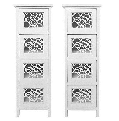 2 Schublade Nachttisch (Montiert Paar Set von 2Slim Weiß Kreise 4Kommode Schublade Kinder Schlafzimmer Nachttisch Stauraum Schrank)