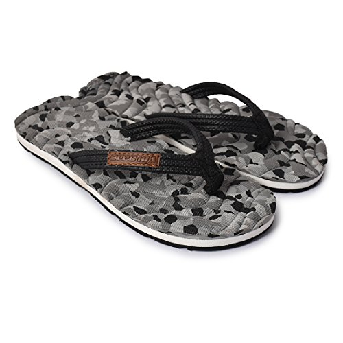 Electra PU Black & Grey Girl's and Boy's Thong-Style Slippers -4