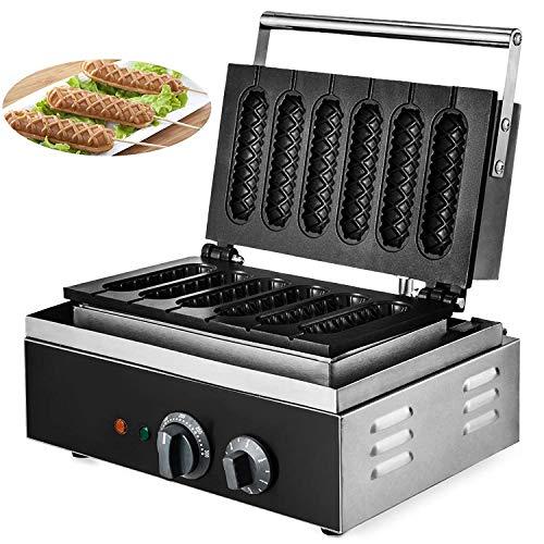 Buoqua SC-118 Waffelgerät 1500W Waffle Maker Machine 6Pcs lolly waffle hotdog maker Waffelmaschine Waffeleisen for Waffle Making and Sausage Corn Baking (SC-118)