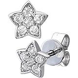 Naava 9 ct White Gold 0.15 ct Diamond Star Stud Earrings