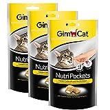 GimCat Nutri Pockets Käse und Taurin, Kalorienarmer Knuspersnack für Katzen mit cremiger Füllung und funktionalen Inhaltsstoffen, Ohne Zuckerzusatz, 1 Beutel (60 g)